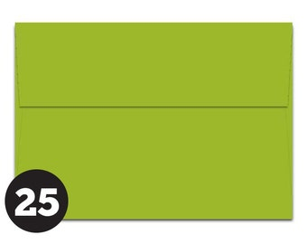 CLEARANCE! 25 Pack Apple Green Envelopes A1 4Bar and A7 for Invitations, Photos, RSVP, Cards, Modern Green, Pack of 25