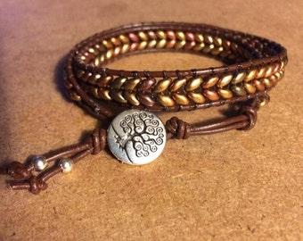 Metallic Double Seed Bead Herringbone Double Wrap Bracelet