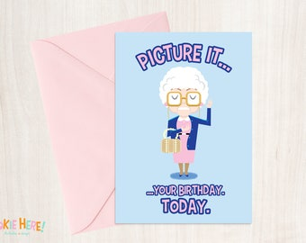 """Sophia Patrillo from the Golden Girls TV Show """"Picture It..."""" Illustrated Birthday Card 4 by 6 Inch"""