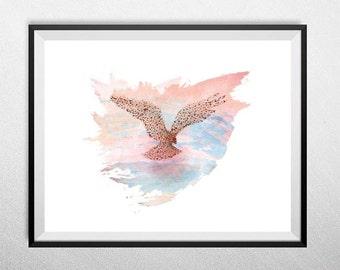 Flock of Birds, Minimal minimalist art, Illustration, landscape art, fine art, Bird formation picture.