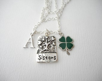 Sisters, Four Leaf Clover- Initial Necklace/ Sister jewelry gift, message jewelry, lil sis big sis, big sister, little sister, sister quote