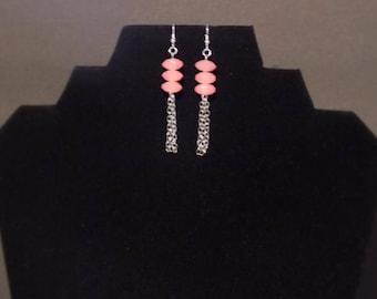 Pink 3 beaded silver fringe earrings