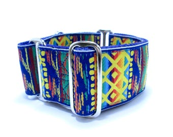 """Martingale or Buckle Dog Collar, Houndstown 2"""" Bright Rasta Unlined Size Small, Medium, or Large"""