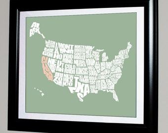 U.S.A. Typography Map with State Highlighted, A typographic word map of the United States of America, Travel Map Art, Typography Stencil, US