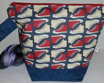 Dr Who Inspired, 10th Doctor Trainers, Tardis & Trench Coat Inspired Wedge Bottom WIP Knitting Bag. Choice of Zipper or Drawstring, Tote Bag