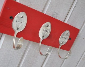Live Laugh Love Stamped Vintage Spoons Coat Rack Recycled Silverware