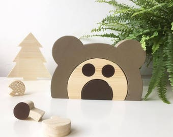 Wooden stacking toy bear puzzle montessori stacker animal educational tool early learning tool natural material  toddlers and preschool kids