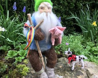 Naald vilten gnome en zijn gebreide vrienden.