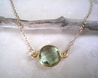 Green Amethyst Necklace, Gold Necklace, Light Green Faceted Vermeil Bezel, Gold Filled Chain, Bridesmaids Jewlery