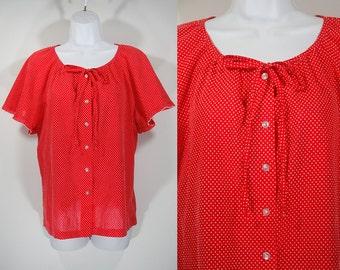 Vintage 70's RHODA LEE Red w/ White Polka Dot Pattern Shirt Top M/L