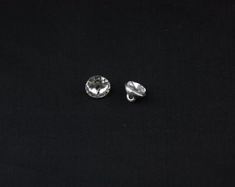 10mm Round Silver Crystal Button with Shank 10Pcs