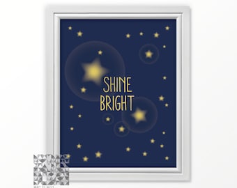 Typographic Print, Star Wall Print, Shine Bright, Nursery Printable, Star Wall Art, Printable Art, Instant Download, Blue Print  : A0334