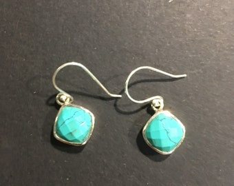 Faceted Turquoise and 925 Silver Earrings