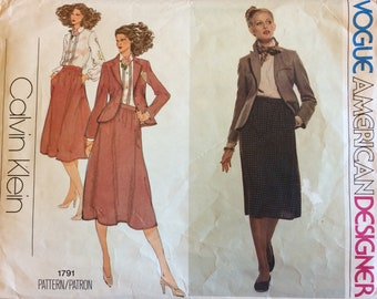 1970s Vintage Vogue Calvin Klein Jacket, Blouse anf Skirt Sewing Pattern