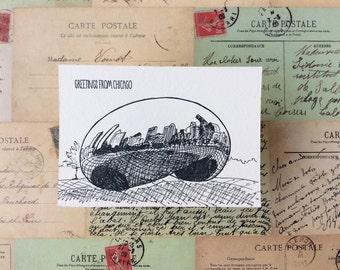 Chicago - five letterpress postcards