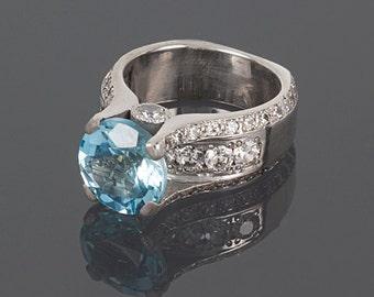 Topaz ring, Statement ring, Woman ring silver, Big topaz ring, Silver topaz ring, Blue topaz ring, Big stone ring, Birthstone ring