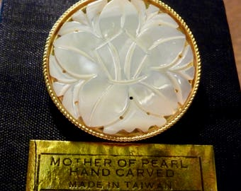 Mother of Pearl Brooch- Lotus flower- hand carved in Taiwan