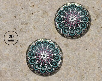 2 cabochons 20 mm resin rose silver print