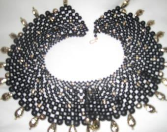 handmade bib necklace black