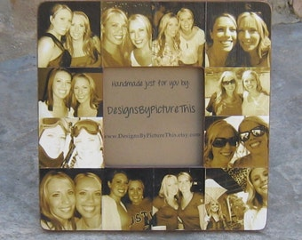 "Best Friends Photo Collage Frame, Personalized Sister Gift, Unique Bridesmaid Picture Frame, Custom Maid of Honor Frame, 8"" x 8"" Frame"