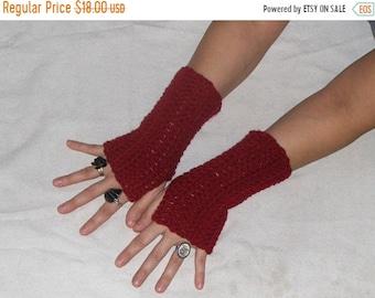 Jellied Cranberries Crocheted Bohochic Fall Fingerless Gloves Handmade Arm Warmers Simple Victorian Style Hand Warmer Fall Autumn Winter