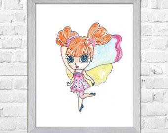 Fairy Watercolor Print, Baby Girl Nursery, Fairy Watercolor Painting, Nursery Wall Art, Baby Nursery Decor, Kids Decor