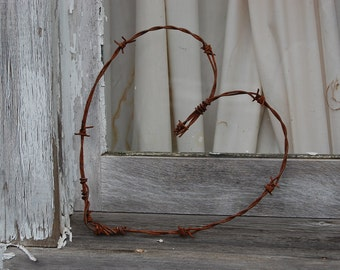 Barbed Wire Heart, Wedding Heart, Rustic Home Decor, Heart, Barbed Wire, Barb Wire, Reclaimed Barbed Wire, Wedding Decor, Wedding Gift, Love