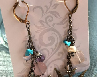 Repurposed Vintage Brass swallow earrings/turquoise handmade 1-of-a-kind