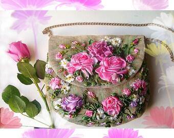 Crossbody bag/ Messenger bag/Canvas tote/shoulder bag/ Fabric purse/floral tote bag/Hobo Bags/