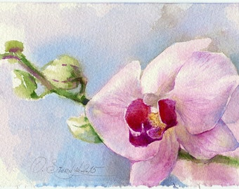 Orchid watercolor Orchid painting - Orchid  orchid art ptint - gicllee print of orchid flower watercolour