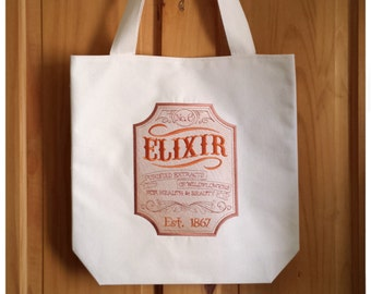 Elixir Embroidered Canvas Tote Bag - Brown Orange Ombre Shopping Bag For Life Antique Poison Label Harry Potter Magic Potions Gift Bag, 2982