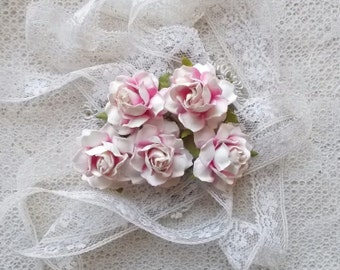 Mulberry Paper flowers,  Scrapbooking Embellishment, Roses, Wedding, Bridal, Card Making, Shabby Pink and White,  Mini Album, Set of 5