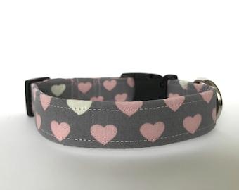Heart Dog Collar, Gray and Pink Collar, Cute Dog Collar, Adjustable Dog Collar, Custom dog collar, Girl Dog Collar, Dog Collar