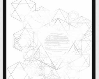 Personalized Contemporary Star of David Ketubah in Grey