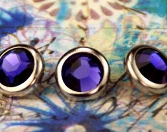 10 Purple Velvet Crystal Hair Snaps - Round Silver Rim Edition -- Made with Swarovski Crystal Element Rhinestones