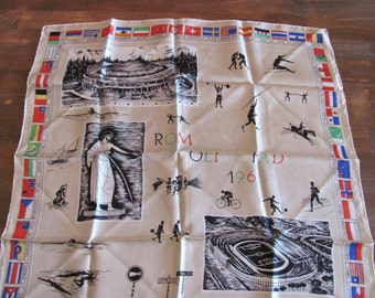 "Vintage 1960 Silk Rome Olympics Souvenir Scarf  22"" X 22"" Excellent Condition"