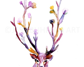 Buck Watercolor Painting Print, Deer Watercolor Painting, Flowers Watercolor, Antlers Painting, Nursery Art, Nursery Watercolor, Deer Art