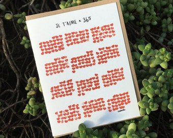 I love you x 365 // Lovely Card (Available in EN & FR)