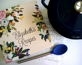 Personalized Muted Blooms Recipe Binder