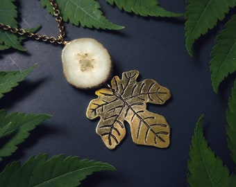 Fig leaf Pendant with solar quartz