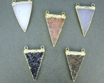 Druzy Druzzy Drusy Triangle Pendant Charm with 24k Gold Layered Edge and Double Bail (S1B7-11)