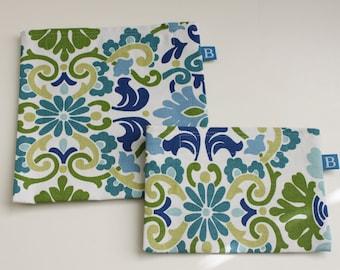 Wiederverwendbar Eco-Friendly Set Snack und Sandwich-Taschen in grün, blau und Blaugrün Floral Stoff