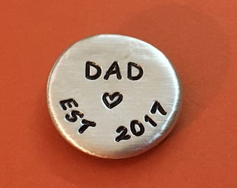 new dad gift, father's day gift, Pocket stone, golf ball marker, ball marker, new dad, pewter pebble, custom stone, new parent gift
