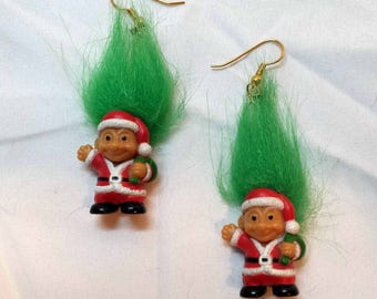 Vintage 1980s Signed Russ Christmas Santa Troll Doll Earrings Tall Neon Green Hair Wearing Santa Suit Carrying Toy Bag