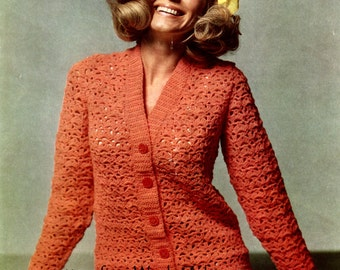 Vintage Crochet Orange Cardigan Pattern PDF 631 from WonkyZebra