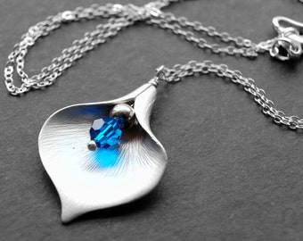 Blue Calla Lily Pendant, Silver Calla Lily Flower Charm Necklace, Blue Swarovski Crystal Pendant Flower Necklace