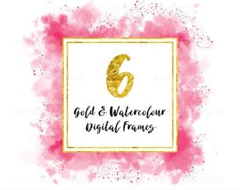 Aquarelle numérique cadres, or cadres numériques, cadres carrés Instagram, rose, bleu, cadres de Scrapbooking, album cliparts, usage Commercial