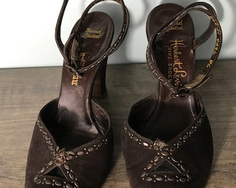 1940's Brown Suede Pumps with Studs and Ankle Straps by the Iconic Herbert Levine, size 7B.