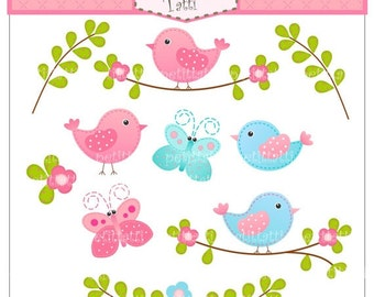 ON SALE bird clip art, Digital clip art for all use, Birds and Butterfly clip art, instant download