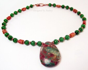Green and Copper Necklace Featuring Mountain Jade and Indian Moss Agate Pendant